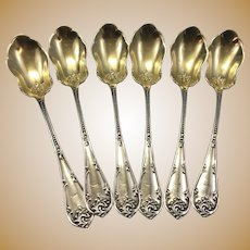 6 Antique Towle Sterling Silver Rustic Berry Spoons 1895 Monogram J Gold Wash