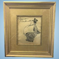 Early Norman Rockwell Signed Original Drawing Large Man W Tophat Framed