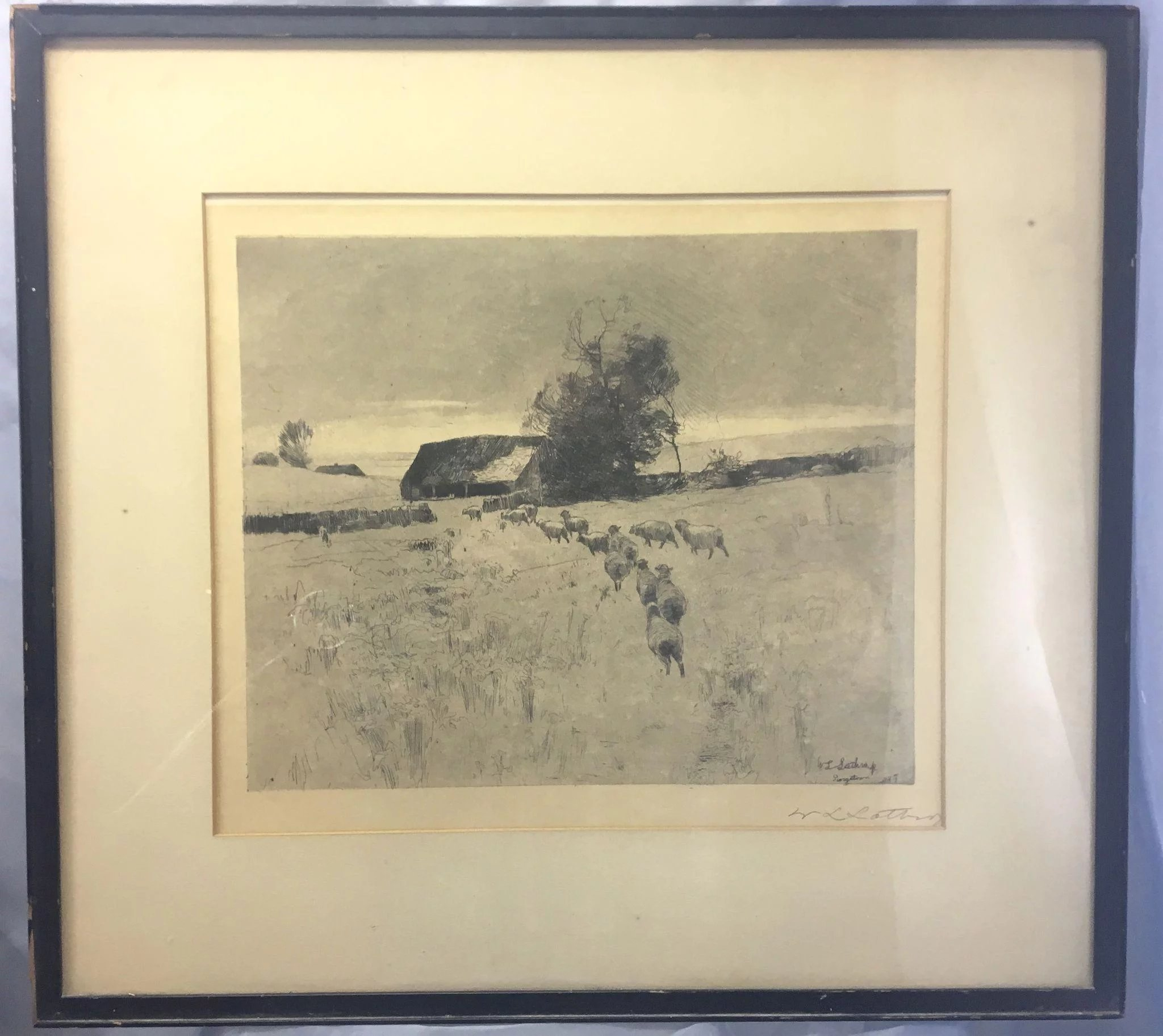 William Langston Lathrop Signed Etching Royal Pelican