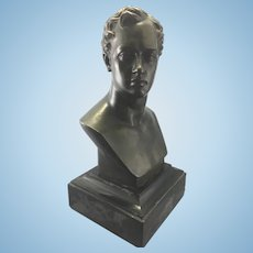 Antique F Barbedienne Foundry Bronze Bust Lord Byron Sculpture Paris France