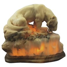 Vintage French Or Italian Carved Alabaster Stone Tiger Lamp Art Deco Large Sculpture