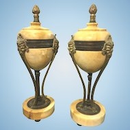 Antique French Yellow Marble & Bronze Ormolu Garniture Footed Urns Mask Faces Hoof Feet