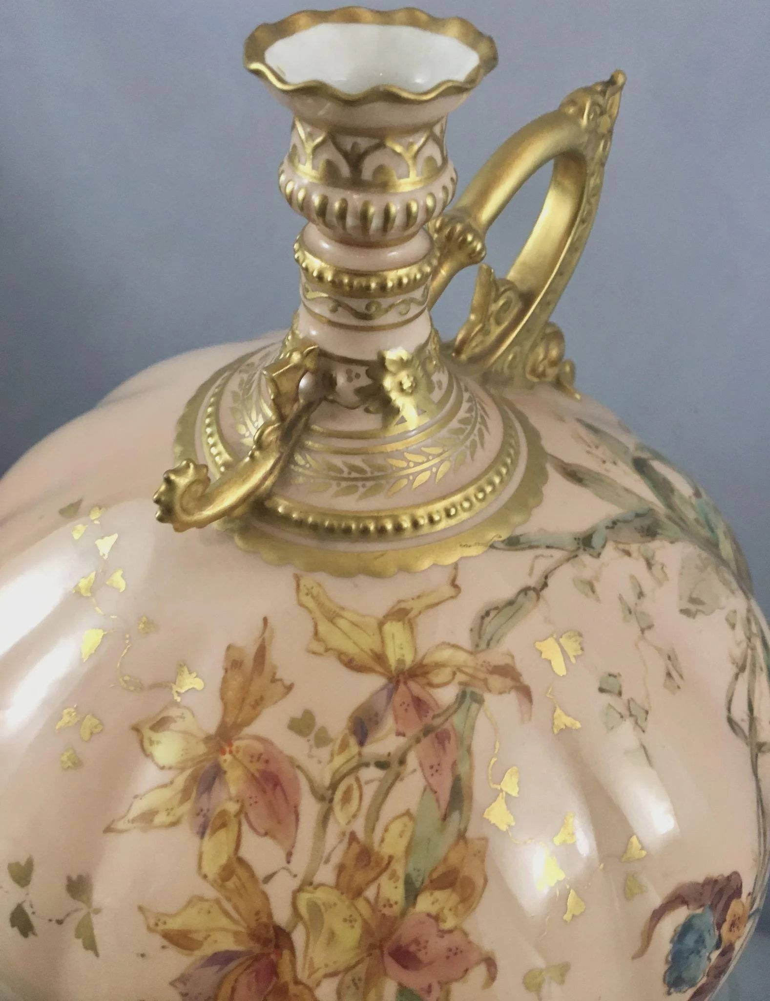 Antique royal crown derby porcelain gourd vase w handle pink click to expand change background gorgeous antique royal crown derby gourd shaped ewer reviewsmspy