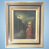 Original Signed Early Margaret Keane Framed Oil Painting Big Eye Girl On Street