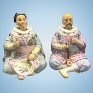 Antique Ernst Bohne & Sohne German Porcelain Nodders Asian Couple Chinoiserie