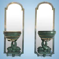 Awesome Rare European Art Deco Bronze Mirrored Sconces Dolphins