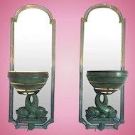 Pr Art Deco Swedish Verdigris Bronze Mirror Sconces Dolphins Base