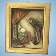Antique European Wax Framed Portrait Raised Bas Relief Image Old Man At Home