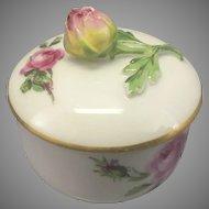 Vintage Meissen Small Porcelain Trinket Box Lidded W Rose Finial
