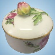 Vintage Meissen Small Porcelain Trinket Box Lidded W Rose Finial