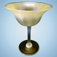 Tiffany Studios Favrile Pastel Iridescent Art Glass Stem Wine Sherbert Onion Skin Texture