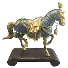 Vintage Chinese Enameled Gilt Silver Jeweled Horse On Stand