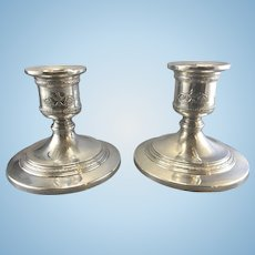 Vintage Neoclassical Pair International Sterling Silver Candle Holders