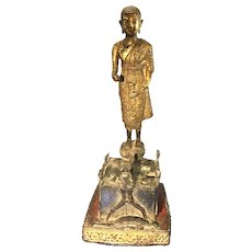 Antique Asian Thai Bronze Phra Malia In Hell Buddhist Monk Temple Statue