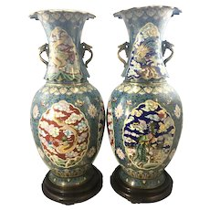 Vintage Chinese Cloisonné Enamel Sectional Floor Vases Xuantong Mark W Stands Plinths