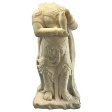 Antique Headless Chinese Thai Asian Carved Marble Buddha Kwan Yin Statue