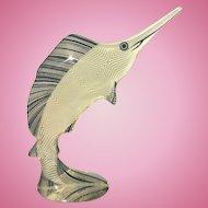 Vintage Abraham Palatnik Lucite Acrylic Swordfish Fish Sculpture Signed Brazil Eames Era MCM