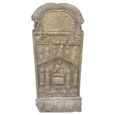 Old Carved Chinese Buddhist Stone Stele Slab Asian Kwan Yin