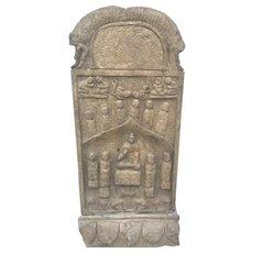 Old Carved Chinese Buddhist Stone Stele Slab Asian Kwan Yin