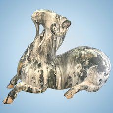 Chinese Earthenware Terra-Cotta Recumbent Ram Goat Sculpture