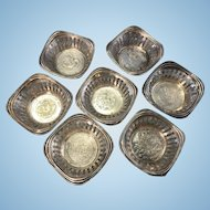 7 Old Chinese Silver Dollar Chinese Dragon Coin Hu-Peh Cups Sterling