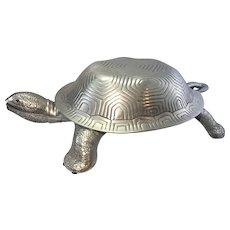 Vintage Arthur Court Cast Aluminum Turtle Dish Tureen W Ladle Carnelian Eyes