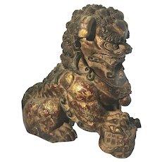 Antique Chinese Asian Camphor Wood Carved Foo Lion Dog Temple Sculpture Gilt Decoration