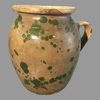 Antique Splatterware Pitcher French Earthenware Pottery Confit Pot Terra Cotta
