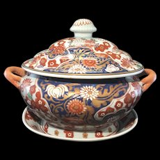 Vintage 3Pc Chinese Japanese Imari Porcelain Soup Tureen W Underplate