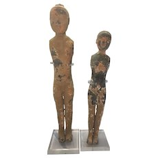Pr Terra Cotta Earthenware Chinese Tomb Attendant Figures Man Woman W Acrylic Stands