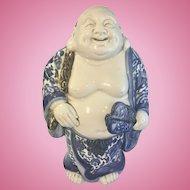 Vintage Blue White Porcelain Asian Japanese Marked Hotei Laughing Buddha Figurine Kutani