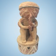 Pre Columbian Style Terra Cotta Earthenware Sculpture Woman W Flute