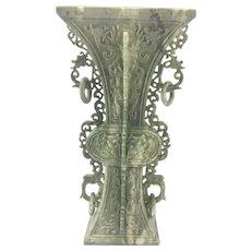 Vintage Chinese Carved Celadon Hard Stone Gu Archaic Vase Vessel