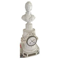 Antique Marie Antoinette Bust Sevres Bisque Porcelain French S Marti Bronze Clock