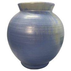 Old Art Deco Mottled Blue W Yellow Gray Ringware Art Pottery Vase Ohio