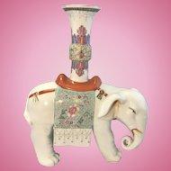Vintage Chinese Porcelain Rose Famille Caparison Elephant Candle Holder
