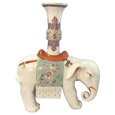 Vintage Chinese Porcelain Rose Famille Caparison Elephant Candle Holder