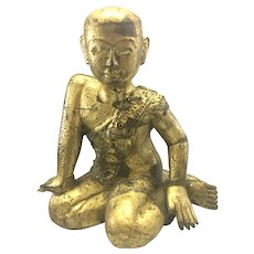 Antique Asian Burmese Buddhist Temple Monk Gilt Wood Jeweled