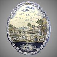 Antique Dutch Delft Faience Polychrome Large Wall Plaque