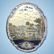 Antique Dutch Delft Faience Polychrome Large Wall Plaque
