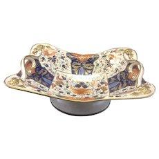 Antique Royal Crown Derby Bone China Centerpiece Fruit Bowl W Handles Imari