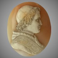 19th Century Carved Cameo Shell Portrait Pope Pius IX Italy