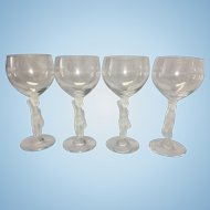 4 Vintage French Bayel Art Glass Wine Goblets Crystal Satin Nude Bacchus Stem