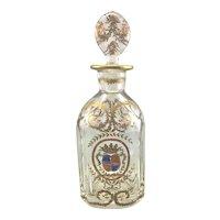 Antique French European Crystal Glass Decanter Enameled Coat of Arms Fleur De Lis