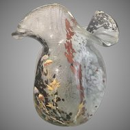 Large Mont Joye French Art Glass Tri Fold Vase W Enamel