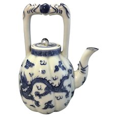 Vintage Small Chinese Blue White Porcelain Melon Teapot Dragon Signed Wanli