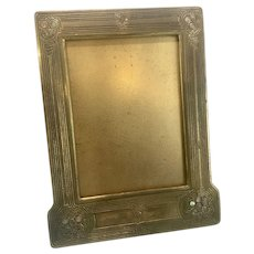 Tiffany Studios Gold Dore Bronze Art Nouveau Abalone Standing Table Picture Frame