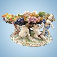 Antique Aelteste Volkstedter Oldest Volkstedt Porcelain Center Bowl Compote Cherubs Germany