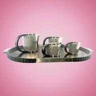 Emile Puiforcat Etchea Silver Plate Art Deco Style Reissue Coffee Tea Set France
