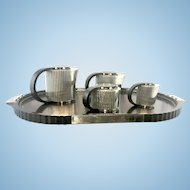 Emile Puiforcat Etchea Silver Plate Art Deco Style Reissue Coffee Tea Set France